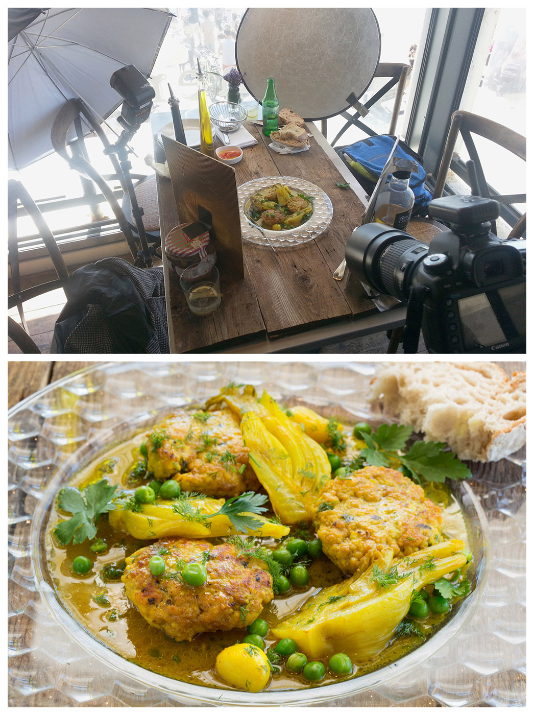 תמונת סט של צילום אוכל במסעדה בנמל תל אביב